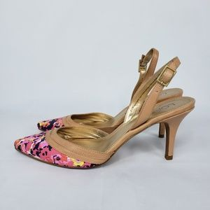 Ann Taylor Loft Floral Pointed Toe Sling Back Pump